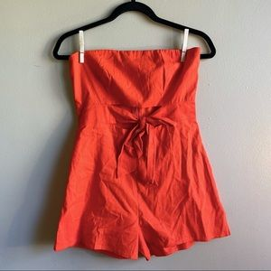 Urban Outfitters Red/Orange Strapless Romper Small